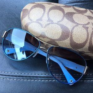 e59ef5505e ... sale coach accessories coach charity blue gold aviator sunglasses 2229b  0765f